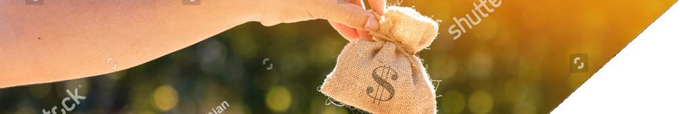 Banner image of hands holding a money bag.